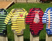 Baby Boy Long Sleeve Onesie Gift Set--Bow Tie, Glasses, Tie, & Suspenders
