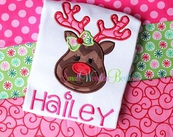 Girl Reindeer Embroidered Shirt - Christmas Shirt - Reindeer Shirt - Girls Christmas Shirt - Holiday Shirt - Reindeer - Santa - Christmas