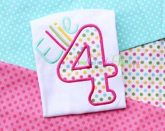 Polka Dot Birthday Embroidered Shirt - 4th Birthday Shirt - Polka Dot Birthday - Spring Birthday - Cupcake Birthday - Fun Dots Birthday