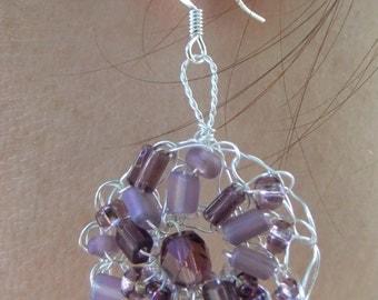 Purple and Silver Wire Crochet Flower Earrings