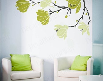 Magnolia Flower Blossom Decal Large Tree Branch Stickers Floral Wall Art Home Decor Decals Removable Vinyl Sticker Living room Bedroom Size1