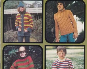 Patons Knitting Pattern No 514 Family Husky or Crafty  Vintage 1970's