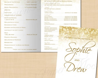 White Gold Sparkles Wedding Program Booklet (Folds to 5.5 x 8.5): Text-Editable in Microsoft® Word, Printable Instant Download