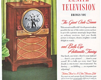 vintage ad for a Zenith television and radio, from 1949.