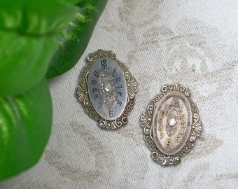Upcycled Earrings ~ Vintage Swiss Engraved Watch Face ~ Rhinestone Earrings