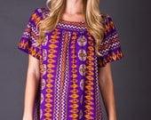 SALE 50% OFF 70s Vintage Psychedelic Tribal Print Mini Dress in Purple & Orange