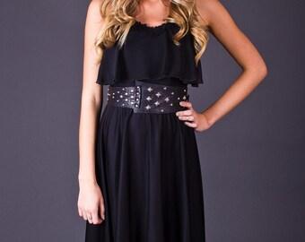 SALE 50% OFF 80s Vintage Sheer Racer Back Capelet Top Dress in Black