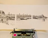 Keira Rathbone Typewriter Art: Limited edition signed & mounted print 'Why I Love Bournemouth Pier in Under 100 Words' 2007