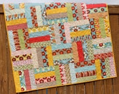 Red Yellow Blue Floral Baby Girl Quilt Boho Handmade Blanket Nursery Bedding