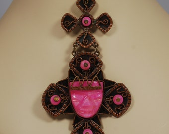 Pink Mexico Mayan Aztec  Figural  Pendant Necklace