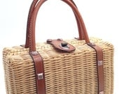 Vintage WICKER Rattan and Leather Box Purse / Handbag - Dayne Taylor - 1960s