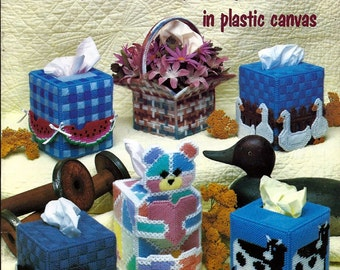 Country Tissue Box Covers in Plastic Canvas Pattern American School of Needlework 3051
