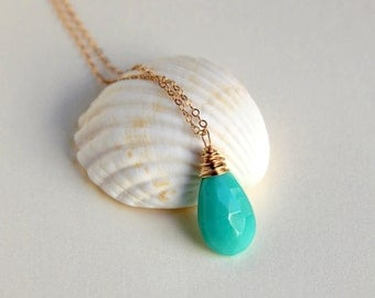 Aqua turquoise chalcedony wire wrapped briolette pendant necklace sterling silver or gold filled