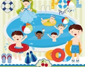 Pool Party Swim Boys Digital Clipart Set -Personal and Commercial Use-paper crafts,card making,scrapbooking,web design