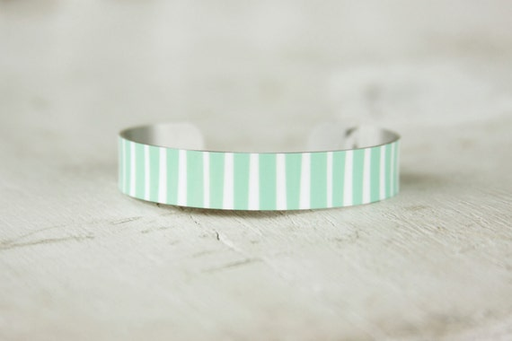 Mint Small Cuff Bracelet - Mint Bracelet - Dainty Cuff Bracelet - Metal Cuff Bracelet - Small Cuff Bracelet by Zoe Madison (241)