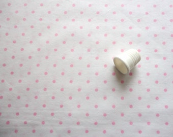 pink polka dot print vintage cotton blend fabric -- 45 wide by 2 1/3 yards