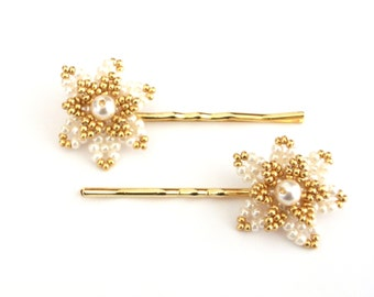 Beaded Hair Pin, Flower Hair Pins, Cream & Gold Hair Accessory, 2 Hair Pins