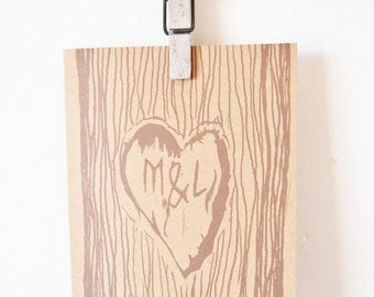 Personalised Greeting Card - Love heart tree carving, personalised initials, wedding card, wedding invitation,