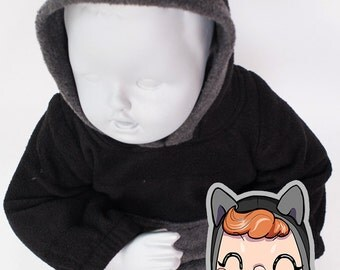 BABY & TODDLER Black Cat Hoodie, Costume, Vest, Jacket, Hand-made, Cosplay