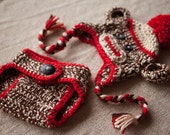 Crochet Sock Monkey Hat and Matching Diaper Cover- 0 - 3 month and 3 - 6 month size