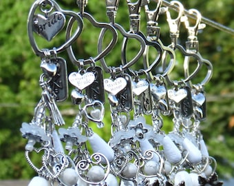 White Wedding Bridesmaid, Maid of Honor, Blooming Heart Keychain, Purse charms.