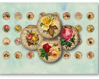 Digital Collage Sheet Download - Roses Ephemera 1 inch Circles -  135   for Jewelry Pendants - Instant Download Printables