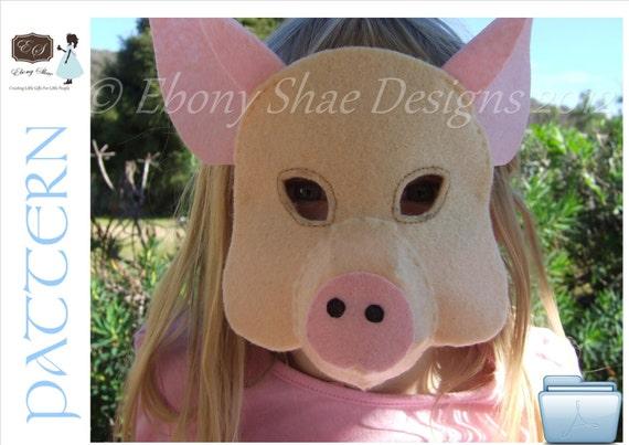 Felt Piglet Mask Pattern.  INSTANT DOWNLOAD.  Sewing pattern PDF for Pig mask Children's Costume.