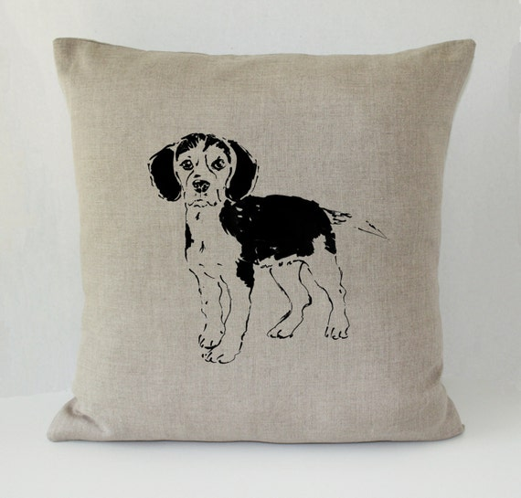Decorative Pillow With Dog : Beagle Dog Decorative Throw Pillow Linen 20x20
