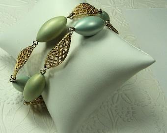 Vintage Double Strand Beaded Bracelet, Gold Filigree and Aqua Beaded Bracelet