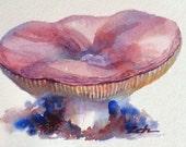 Mushroom Original Watercolor Painting 3.5 x 5 Woodland Decor Nature Art by Janet Zeh