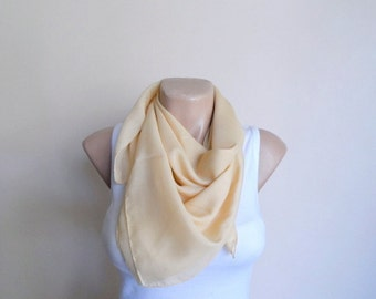 Pale Yellow Square Scarf, Women Scarf Scarves