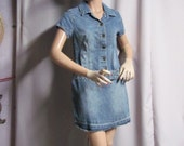 Size 3 denim dress, vintage diva denim short dress, short sleeves, drop waist  waistline, metal buttons, raveled hem, denim blue, Size 3...J