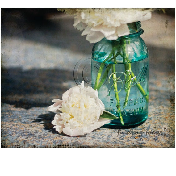 Mason Jar Peonies, Aqua Blue Mason Jar White Peony Bouquet Distressed Aged Slate Blue Background, Antique Vintage Shabby Cottage Art Photo