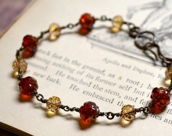 Gilded Roses Bracelet with Red and Gold Rosebud Czech Glass Beads and Brass