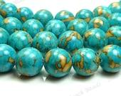 10mm Deep Sky Blue Mosaic Turquoise Round Gemstone Beads - 16 Inch Strand - BG6