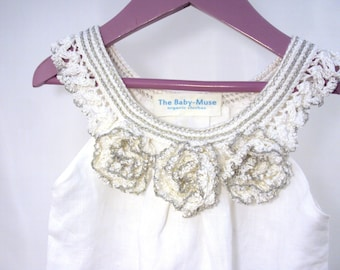 "crocheted sew organic linen baby toddler girl flower dress tunic with lacy edge ""White peonies """