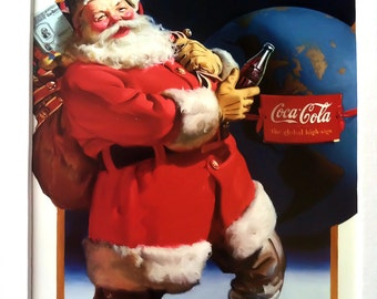 COCA-COLA SANTA -Children's Book Page, Matted, 5x7, Wall Decor, Christmas, Santa Clause, Holiday, Red, White,'Twas, 1940's, 1960's