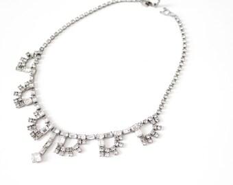Vintage '50s Rhinestone Necklace Art Deco Design Mid Century Statement Jewelry with Clasp Enclosure
