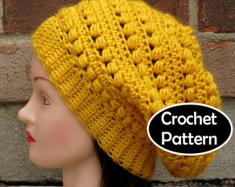 CROCHET HAT PATTERN Instant Download - Aimee Slouchy Beanie Beret Tam Hat  Womens- Permission to Sell