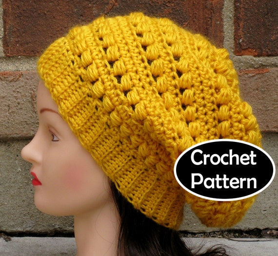 Free Crochet Hat Patterns To Download : CROCHET HAT PATTERN Instant Download Aimee Slouchy Beanie