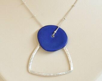Tagua Nut Necklace- Silver Triangle Pendant- Tagua Nut Jewelry- Royal Blue Tagua Necklace- Sterling Silver Necklace- Bridesmaid Necklace