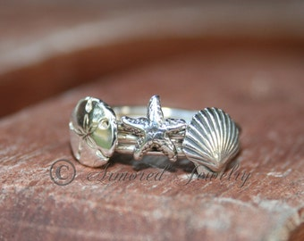 Coastal Stacker Ring Set, Starfish ring, Sand dollar ring, Sea shell ring, Sterling silver ring, silver rings, Star fish ring, Beach Living