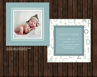 INSTANT Download5x5 PSD Birth Announcement Card Template - B5