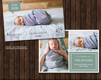 INSTANT Download 5x7 Birth Announcement Template  - B49