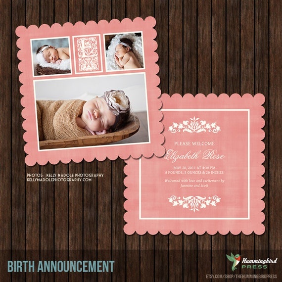 5x5 Birth Announcement Card Template with Decorative Letters - B7