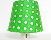 Green and White Polka Dot Night Light and Shade - Lime Green Nursery Decor - Kids Night Lights - Childrens Nightlight - Kids Room Decor