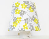 White Night Light - Yellow and Gray Nursery Night Light Lighting - Decorative Night Lights - Flower Nightlight - Baby Girl Nursery Decor - TheOrangeChairStudio
