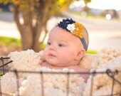 Navy Blue, Mustard Yellow, and White Shabby Flower Headband - Baby Bows - Autumn Fall Winter Hairbow -  Baby or Toddler Photo Prop