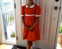 Upcycled Steampunk Clothing, Little Orphan Annie Dress- Red Jersey Knit with White Collar and Trim (Made to Order)