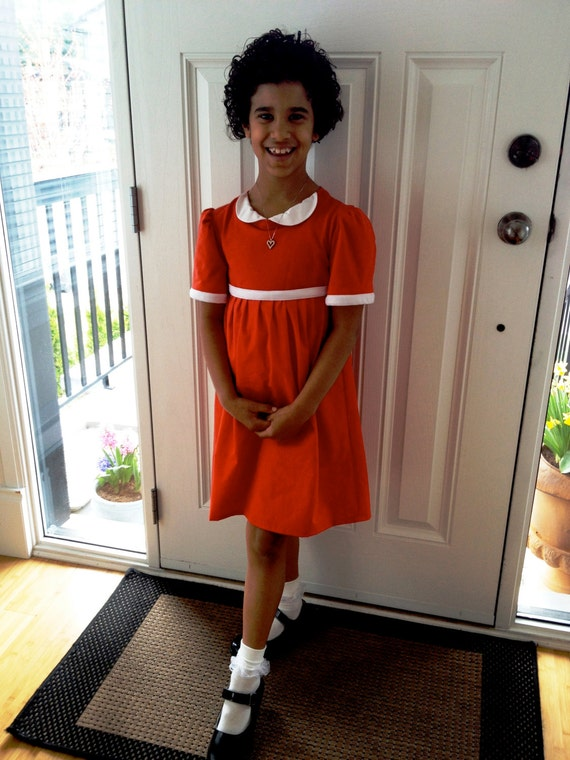 Upcycled steampunk clothing little orphan annie dress red jersey